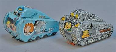 Lot of 2 - Vintage Cartoon Character Tank Toys