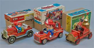 Lot of 3  Vintage Misc Fire Engine Toys