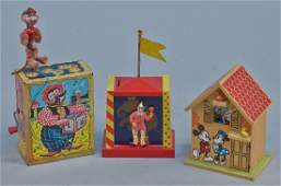Lot of 3 - Vintage Misc. Music Box Wind-Up Toys:
