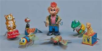 Lot of 7 - Vintage Misc. Litho. Tin Wind-Up Toys: