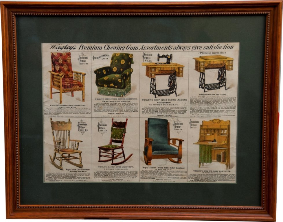 Wrigley's Furniture Paper Advertisement in Frame