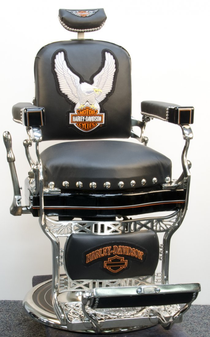 Koken Barber Chair in Harley Davidson Motif