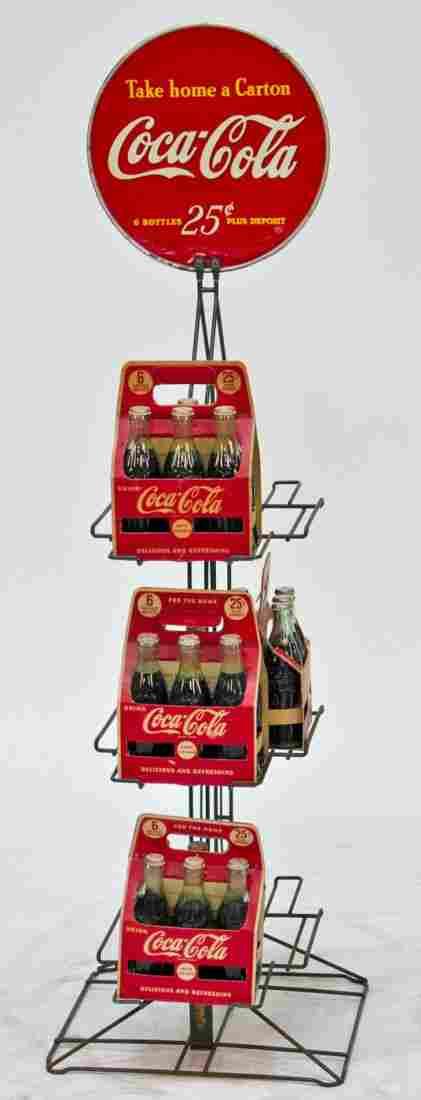 """Coca Cola Metal Store Floor Display Rack w/ 4 """"6 For 25"""