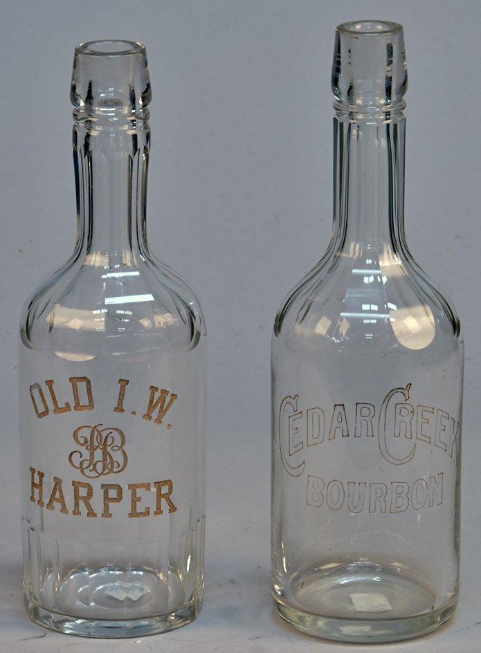 Lot Of 2 Early Glass Liquor Bottles: