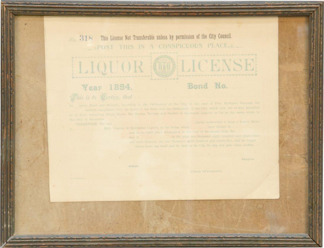 1894 Savannah, Ga Liquor License in Frame