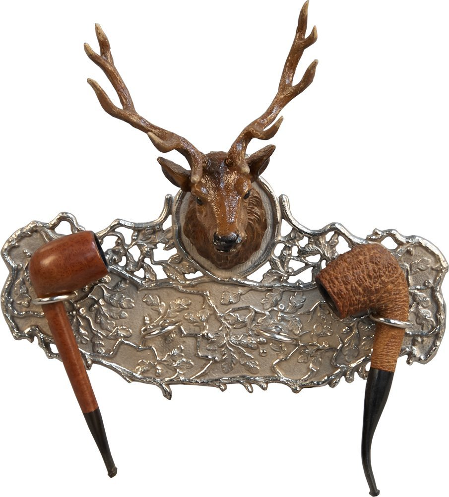 Ornate Nickel-Plated Cast-Iron Wall Mount Figural Elk H