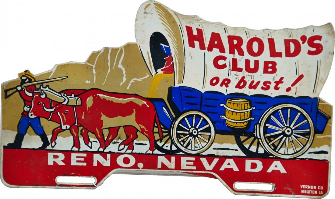 Harold's Club Or Bust! Tin Advertisement Sign