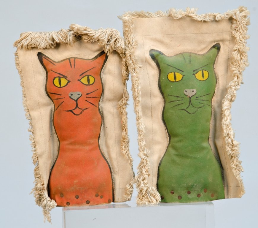 Lot of 2 Painted Cat Stuffed Canvas Carnival Game Knock