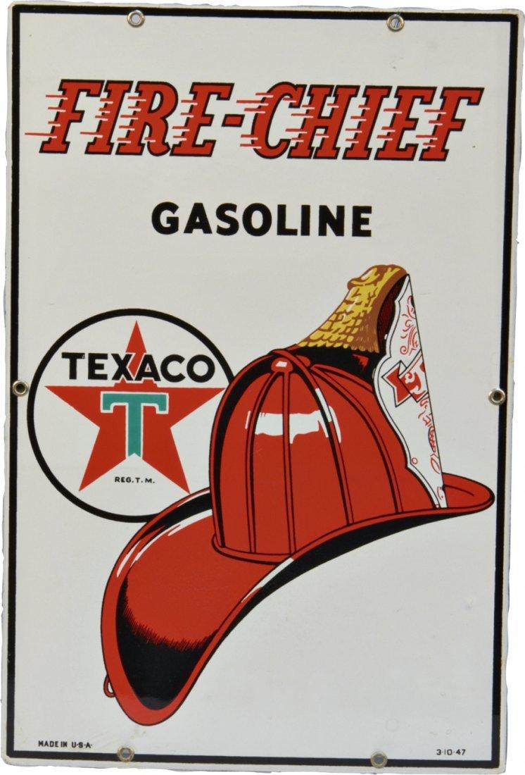 Fire Chief Gasoline Texaco Porcelain Gas Station Sign