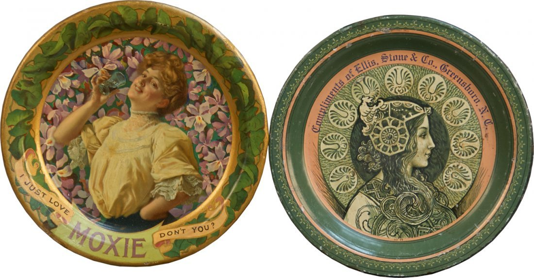 Lot of 2 Small Round Tin Advertisement Tip Trays: