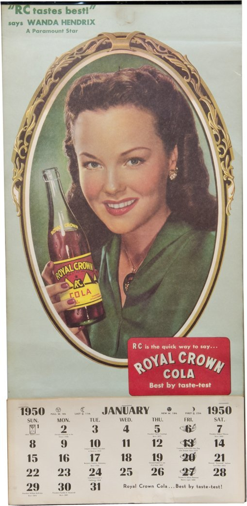 Royal Crown Cola 1950 Complete Year Calendar