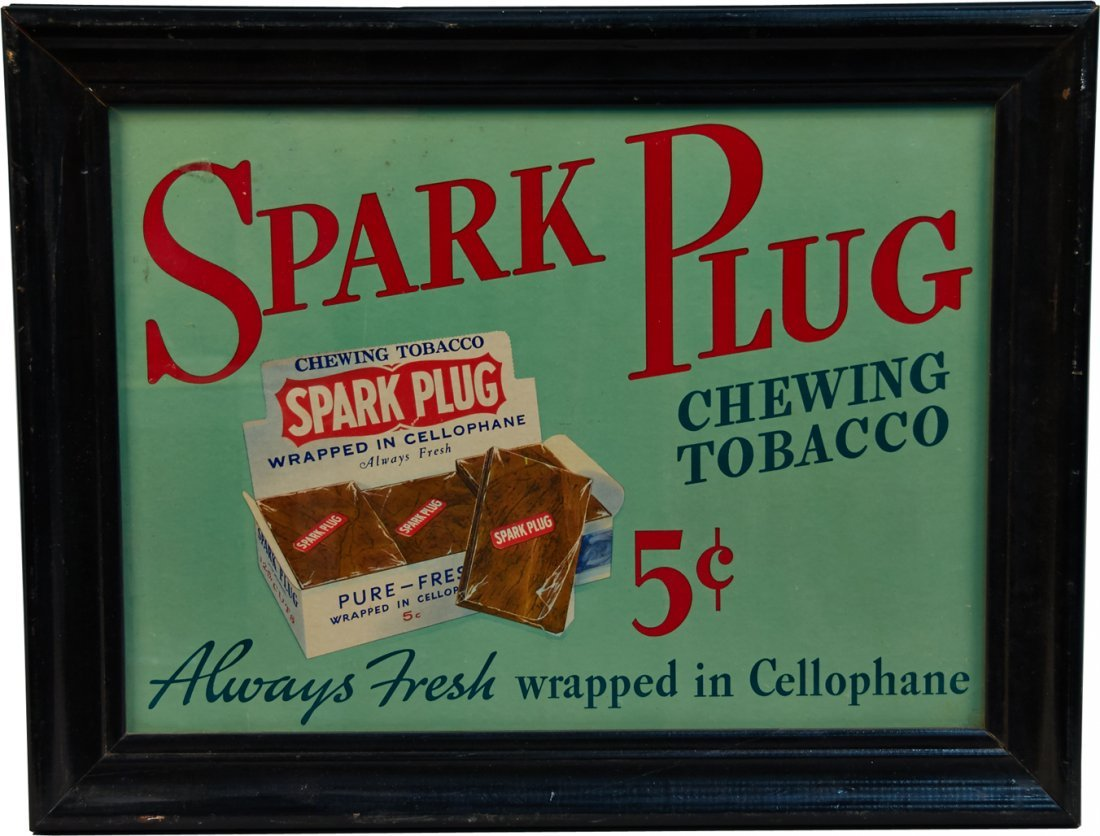 Spark Plug Chewing Tobacco Advertisement in Black Wood