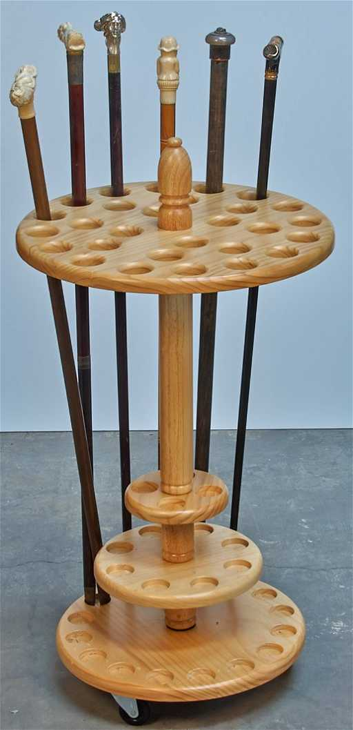 Wooden Walking Cane Stand Holder On Wheels