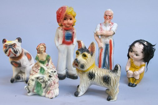 Lot of 6 Early Carnival Painted Chalk Figures: