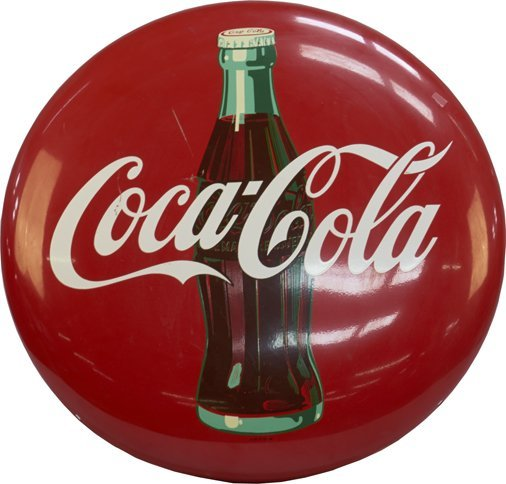 Coca-Cola Red Button Sign w/ Bottle Picture