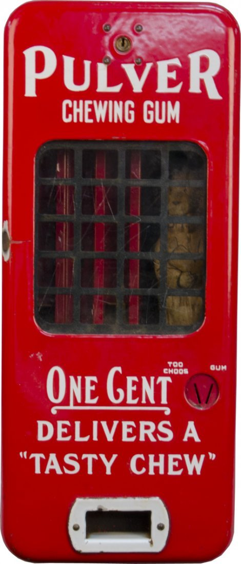 "1 Cent Pulver ""Too Choos"" Red Porcelain Case Vending"