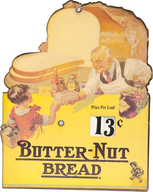 Butter-Nut Bread Die-Cut Cardboard Sign w/Movable Wheel