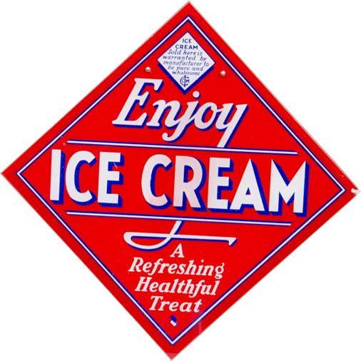 """Enjoy Ice Cream"" Reverse On Glass Diamond-Shaped Sign"