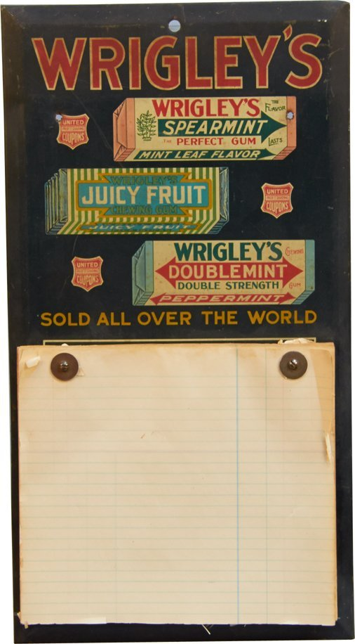 Wrigley's Gum Tin Notepad Sign