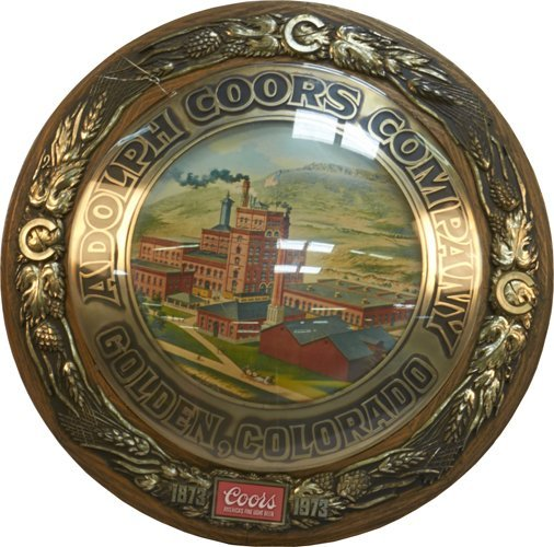 Coors Beer Round Framed Plastic Advertisement Sign