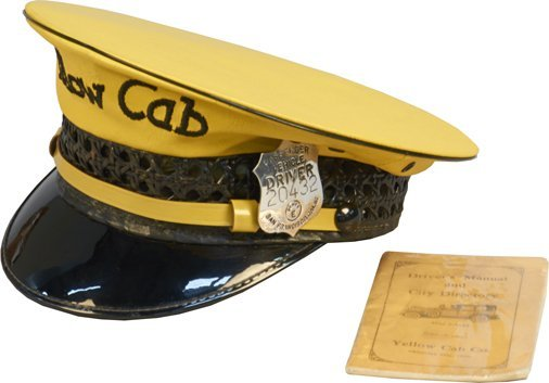 Yellow Cab Leather Taxi Driver Hat w/ Badge