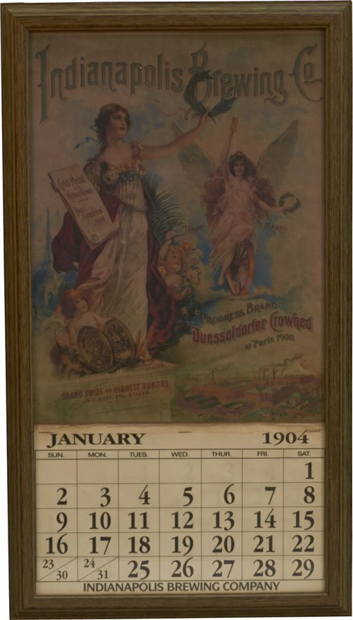 Indianapolis Brewing Co. 1904 Calendar in Frame