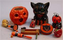 Lot of 9  Vintage Misc Halloween Items