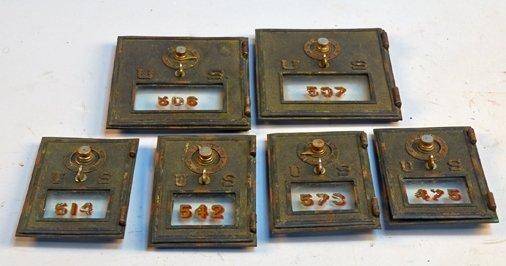 Lot of 6 U.S. Post Office Brass Mailbox Doors: