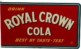 Drink Royal Crown Cola Double-Sided Metal Flange Sign
