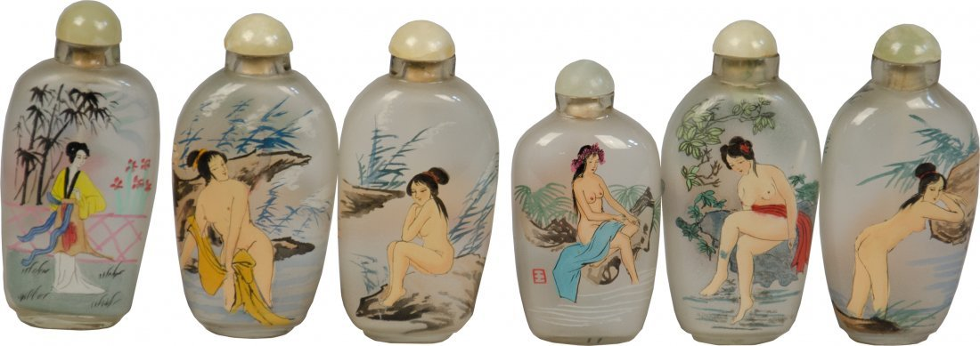 Lot of 6 Vintage Naughty Asian Painted Glass Snuff Bott
