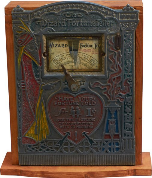 1 Cent Mills Novelty The Wizard Fortune Teller Metal
