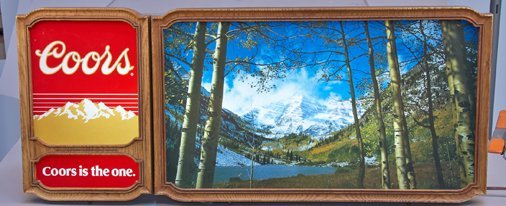 Coors Beer Light-Up Wall Mount Mountain Scene Box Sign