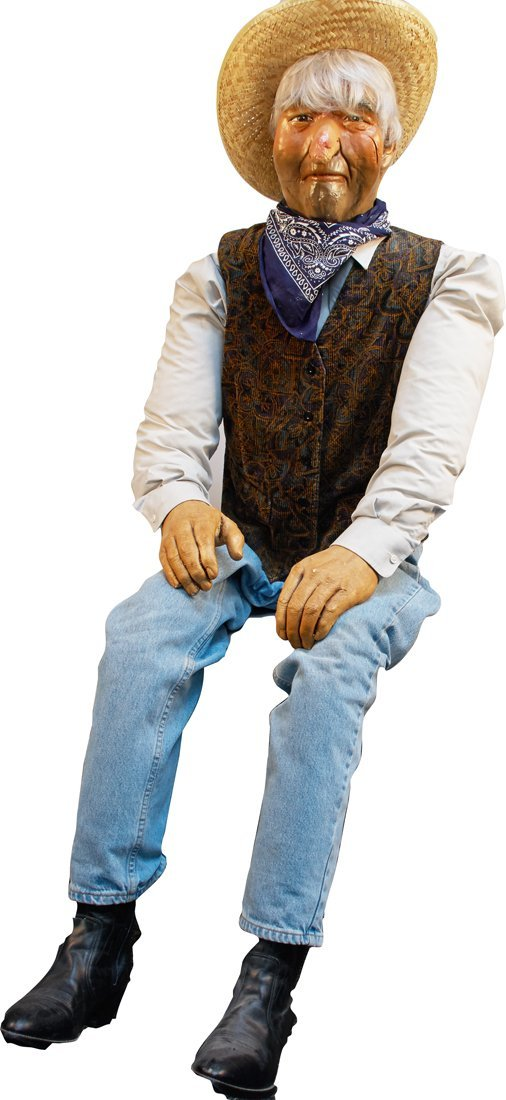 Lifesize Seated Old Miner Dummy Mannequin Doll