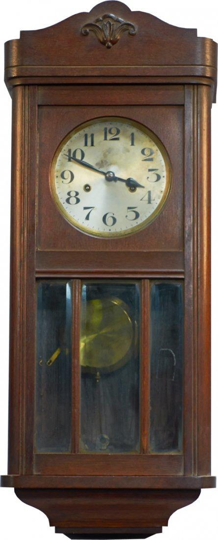 Antique German Wooden Wall-Mount H.A.C. Clock