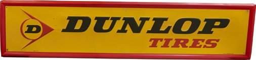 """""""DUNLOP Tires"""" Embossed Self-Framed Tin Sign c1981"""