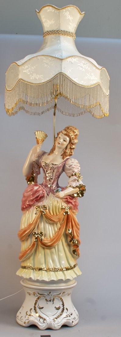 Capodimonte Porcelain Figural Girl Lamp