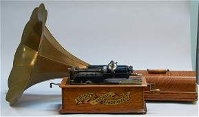 Edison Home Phonograph Player w/ Brass Horn