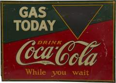 Coca-Cola Embossed Tin Gas Station Sign