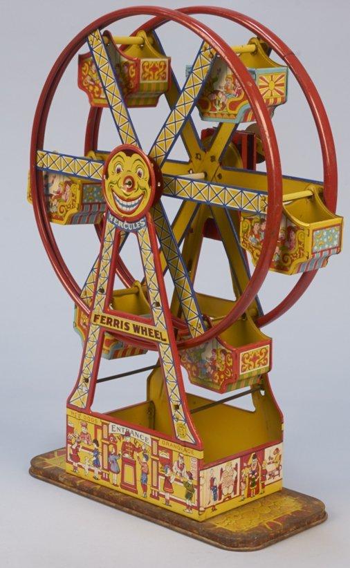 "Vintage J. Chein Litho. Tin ""Hercules"" Ferris Wheel c19"