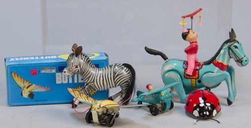 Lot of 5 - Vintage Made In China Litho. Tin Toys