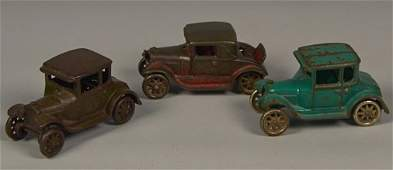 Lot of 3 - Vintage Arcade Cast-Iron Coupe Style Cars