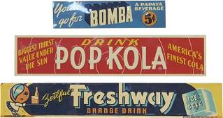 Lot of 3 - Misc. Beverage Embossed Tin Advertisement Si