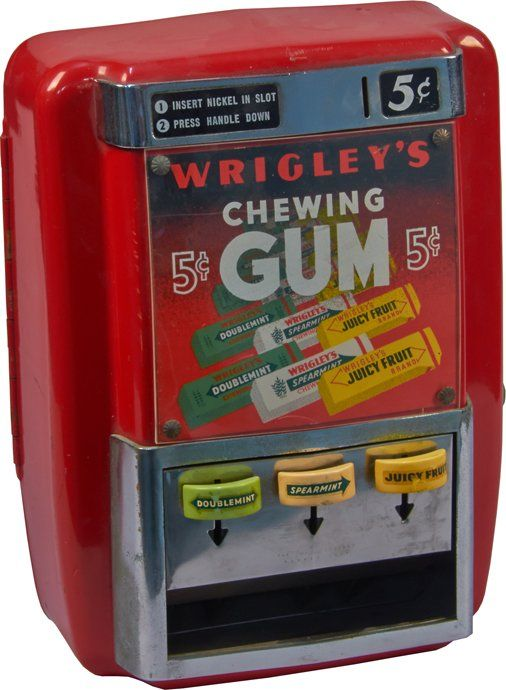 5 Cent Wrigley's Chewing Gum 3-Column Vending Machine