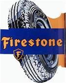 Firestone Tire Double-Sided Die-Cut Metal Flange Sign