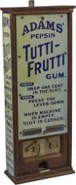 1 Cent Adams' Pepsin Tutti-Frutti Gum 2-Column Vending