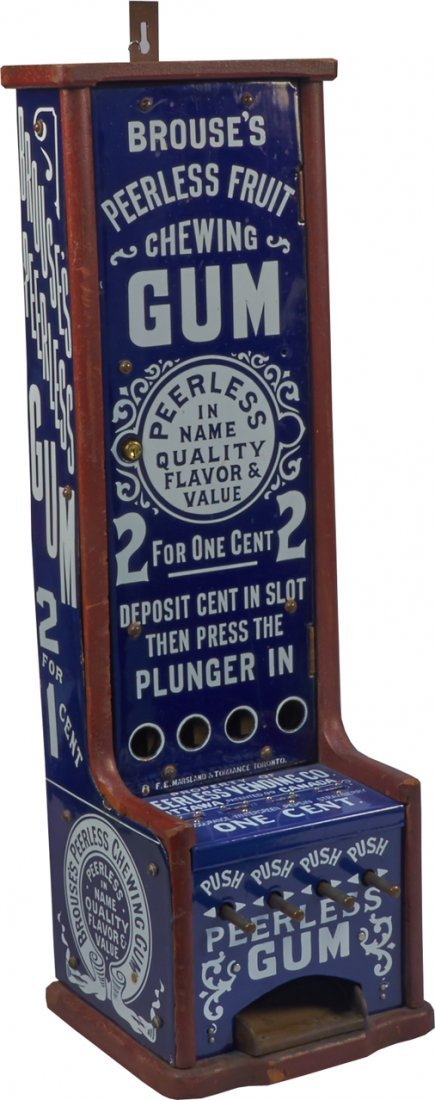 1 Cent Brouse's Peerless 4-Column Vending Machine c1890