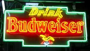 Large Drink Budweiser Beer Hanging Neon Sign