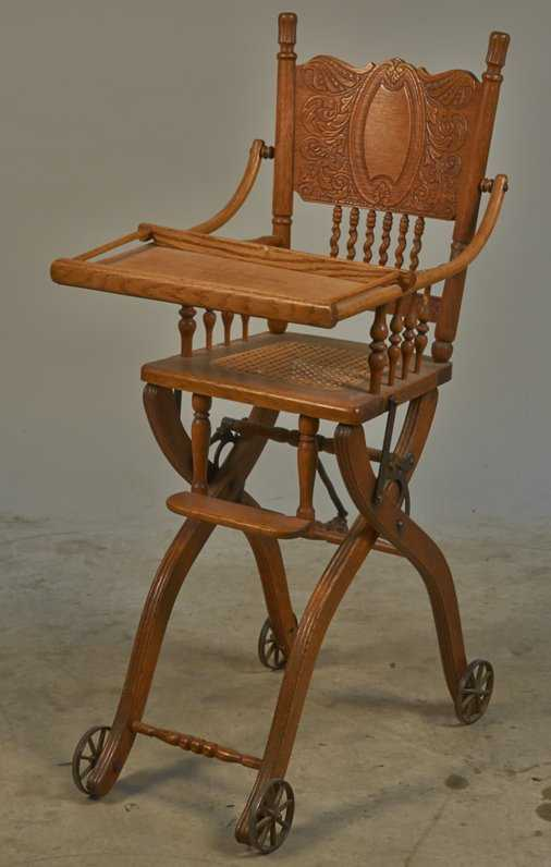 Vintage Embossed Wood & Cast-Iron Baby High-Chair