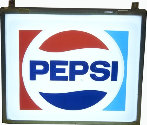 Large Pepsi Cola Embossed Light-Up Box Sign