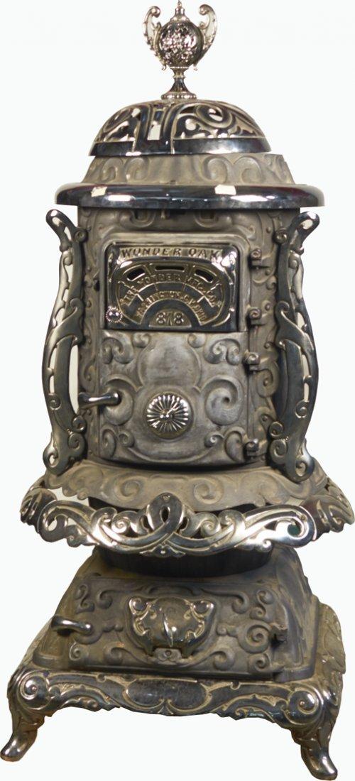 Antique Ornate Wonder Oak 818 Cast-Iron Pot Belly Stove